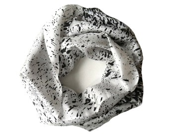 White Scarf-Black Scarf-Infinity Scarf-Silk-Scarf-Scarves-Scarves for Fall-Scarves for Summer--Scarves for Spring-Holiday Gift-Gift for My