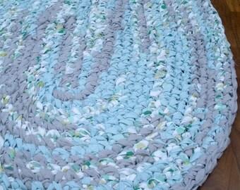 "40""x28"" Gray, Blue and White, Hand Crocheted, Oval Rag Rug, Kids' Bedroom Rug, Braided Rug, Nursery Rug, Boy's Crochet Rug, Blue Throw Rug"