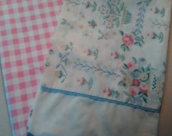 Vintage Mix and Match Pink Gingham Shabby Chic Country Cottage Blue Standard Pillowcases bed linens girls room decor bedding
