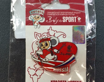 Enameled Russian Olympic Pin in Original Packaging- Free shipping