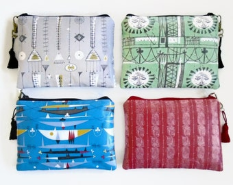 Mid Century Modern Inspired Waterproof Ladies Wallet, Glasses case, Make-up Bag, Cosmetic Pouch, Coin Purse.
