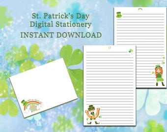 St. Patty's Day Stationery - INSTANT DOWNLOAD - Assembly Required