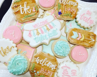 Rustic Baby Shower - GIRL Decorated Cookies