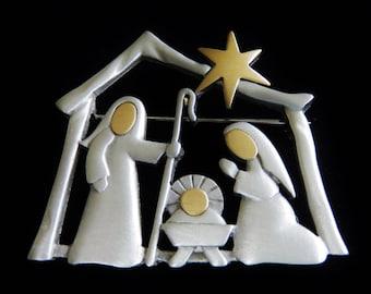 JJ Jonette Two Tone Pewter Nativity Scene Brooch Pin