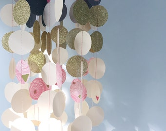 NEW / ready to ship / baby mobile chandelier / grey pink ombre mobile modern nursery mobile / peony pink gold flower mobile / baby girl mobi