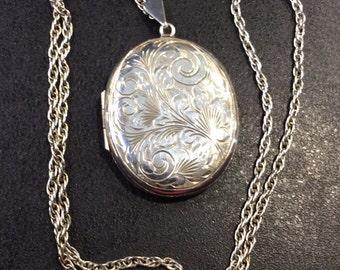 Silver locket on chain