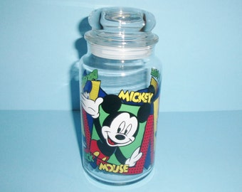 Disney Glass Candy Or Goody Jar With Lid Mickey Mouse Minnie Mouse Donald Duck Vintage 1990s