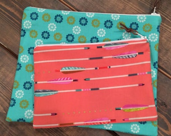 Zippered Pouches, Set of Two