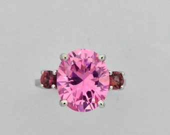Natural Garnet with Pink Cubic Zirconia Cluster Ring 925 Sterling Silver
