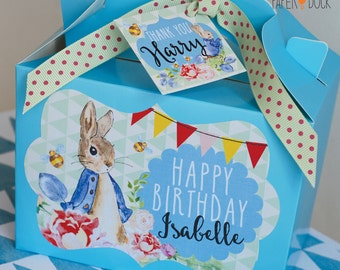 Personalised PETER RABBIT Birthday Christening Party Bag Box Activity Stationary Yellow Blue Pink