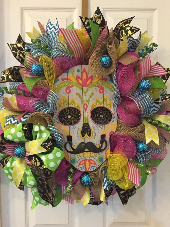 Sugar Skull WreathDay of the Dead Wreath Skull