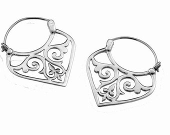 Sterling Silver Tribal Hoop Earrings, Boho Earrings, Gypsy Earrings, Silver Hoop Earring, Ancient Style Jewelry, Gift For Her