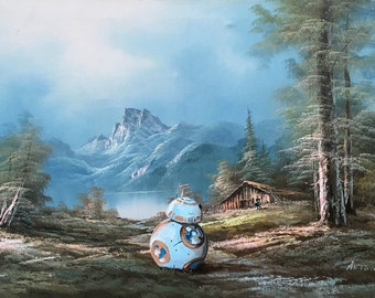 New Star Wars BB8 and Rey Parody Painting, 'Providence' - Altered Art - Limited Edition Print or Poster, Funny Star Wars Awakens Parody Gift