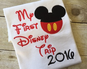My First Disney Trip 2017, Mickey Pants on a White T-shirt. Inspired by Mickey Mouse and Disney.