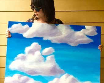 Original Partly Cloudy Sky Acrylic Painting