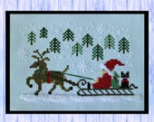 Northwoods Santa, Original Cross Stitch Design from Scotland, PDF Download