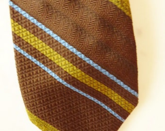 Vintage Necktie Brown and Olive Green Retro 70s Tie