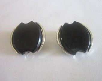 Vtg Silver Tone & Black Clip on Earrings Designer Capri