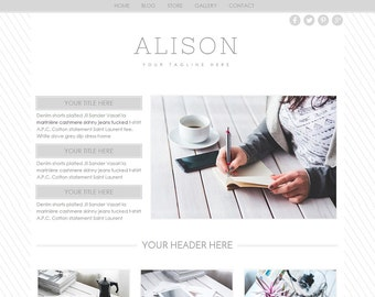 """Website Template - Blog - Ecommerce - Weebly - """"Alison"""" Photography Website - Premade Template"""