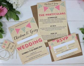 Burlap Bunting Festival Wedding Invitations - Florence