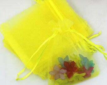 10 - Lemon Organza Gift Bags With Drawstring 9cm x 7cm