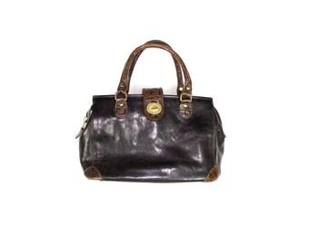 BRAHMIN handbag - vintage - black leather top handle purse - croc embossed bag