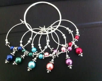 Matte Glass Pearl Wine Charms