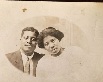 The Lovebirds- Sweet loving couple - African AmericanVintage photograph-RPPC