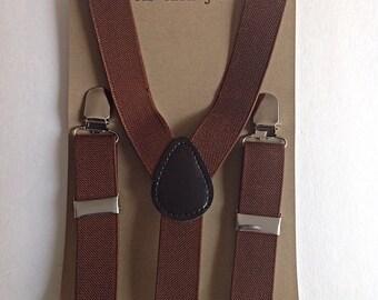 Kids camel brown stretchy suspenders