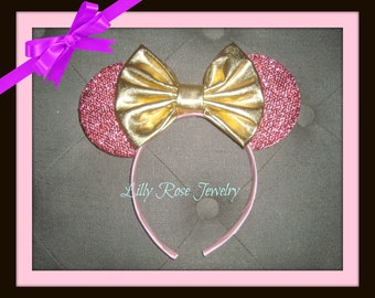 Sparkly Pink Minnie Mouse Ears Mickey Mouse Ears Inspired with Gold Metallic Bow Fits Adults and Children Ready to Ship Paint the Night