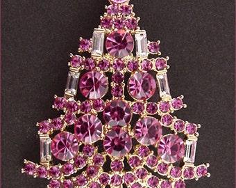 Eisenberg Ice Pink Rhinestones Candle Tree Christmas Pin (Inventory #J677)
