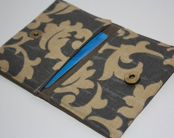 Ornament  brown  business card holder Square Business Card Case, Oversized Card Case , Bag en purses , fabric wallet