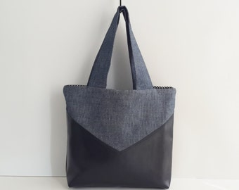 Blue Jeans Fabric and Black Veggie Leather Tote bag