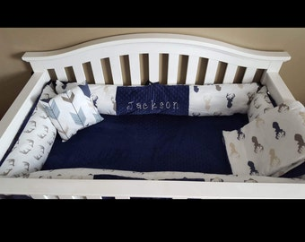 Baby Boy Crib Bedding Buck Deer Head in Navy Tan