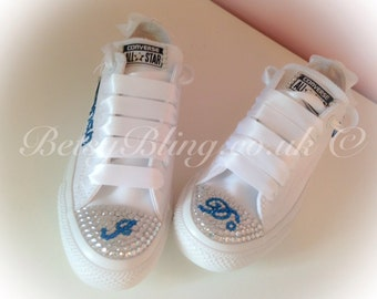 SALE **15% off original price** Crystal Wedding Converse ANY colours-Crystal brides Converse Free UK Delivery