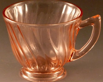 Jeannette Petal Swirl Pink Depression Glass Cup Jeannette  Footed Coffee Tea Glassware Vintage Authentic Excellent Condition