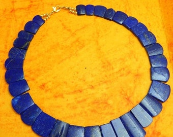 on sale Super Fine Quality Unique Fancy matched pair Lapis lazuli gemstone Necklace 271 carat 13-30mm 17.5''