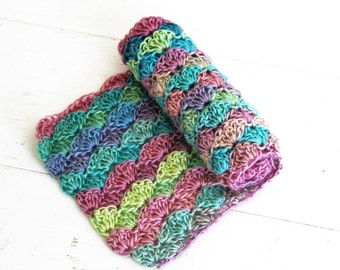 RTS Rainbow Ripple Wrap // Handmade Crochet Blanket // Newborn Photo Prop // Rainbow Baby Prop Ready to Ship