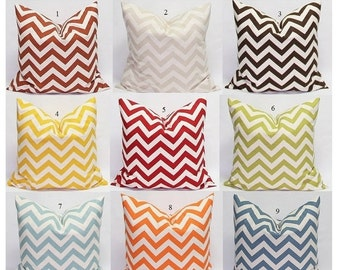 SALE Chevron Pillows 24 x 24 Pillow Covers Decorative Throw Pillow Cover Chevron in Natural and red, blue, brown, orange, rust, green...
