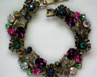 Foil Backed Rhinestone Flower Link Bracelet - 4399