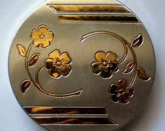 Silver tone Powder Compact with Gold Floral Design - 4629