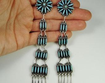 Navajo Earrings Navajo Jewelry Native American Earrings Shoulder Duster Earrings Turquoise Earrings Vintage Earrings Statement Earrings