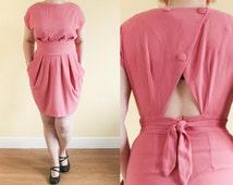 S UK 10-12 | Vintage Tulip Dress | 80s Does 50s | 80s Dress | Cut Out Dress | Mad Men Dress | Lana Del Rey | Tunic Dress | 90s Dress. Louche