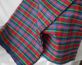Acetate TAFFETA PLAID HOLIDAY Dress Fabric In White Black Red Green Gold and Blue 60 inches wide