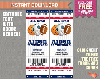 Sports Ticket Invitation with FREE Thank you Card! - All Star Birthday - INSTANT DOWLOAD - Edit and print at home with Adobe Reader