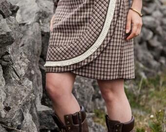 Skirt, Wool Skirt, Traditional skirt, steampunk, celtic skirt, tweed skirt, folk skirt, vintage skirt, knee length skirt