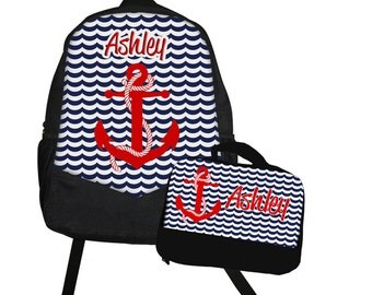 Nautical Backpack Lunch Bag Set - Back to School Set - Navy Red Anchor at Sea School Set - Matching backpack and lunch bag