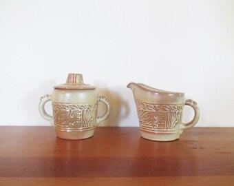Frankoma Mayan Aztec Desert Gold Sugar Creamer Three Piece Set