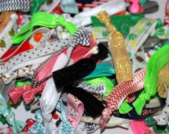 Five Grab Bag Elastic Hair Ties - FREE SHIPPING - No Tug Hair Ties