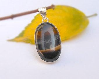 Sterling silver Natural Black Agate Gemstone Pendant, Oval Pendant, Agate Necklace, Striped Black Agate Pendant necklace, Handmade Jewelry